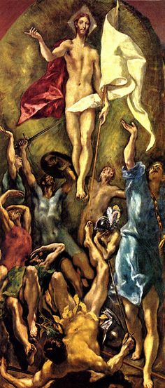 El Greco The Resurrection, , Museo del Prado, Madrid. Read more about the symbolism and interpretation of The Resurrection by El Greco. Renaissance Kunst, Spanish Artists, Art Database, Art Graphique, Sacred Art, Christian Art, Religious Art, Painting Prints, Art History
