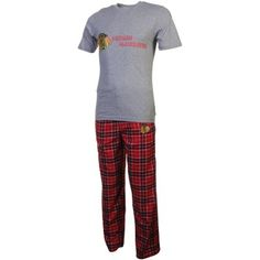 Chicago Blackhawks Roster T-Shirt and Flannel Pants Sleep Set - Black/Red/Ash