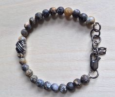 Opaque jasper beads and sterling silver 'sailor's knot' charm bracelet by MastoriJewelry on Etsy