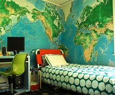 wall map mural for boy room interior design ideas - Stuning Idea for Interior Design, Home Decorators and Life Style Teenager Zimmer Design, Cool Kids Rooms, Kids Bedroom Designs, Bedroom Ideas, Ideas Hogar, Awesome Bedrooms, Boy Room, Child's Room, House Design