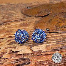 Náušnice - Lezecké bambulky - modré - 5751291_