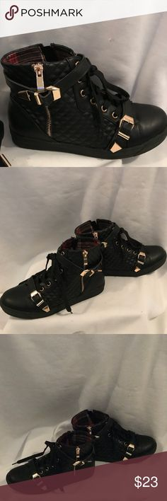 Henry Ferrera Mahi Quilted high top sneakers Worn once like new Henry Ferrera Black quilted faux leather  hightop sneakers with gold hardware buckles and side zippers . Size 8 . Really comfy Shoes Sneakers