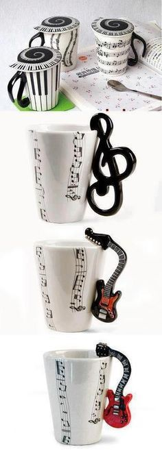 The one's with the note/treble clef handles! The one's with the note/treble clef handles! Coffee Love, Coffee Cups, Coffee Coffee, Happy Coffee, Drinking Coffee, Foto Poster, Instruments, Treble Clef, Music Stuff