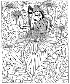 Butterfly Daisy Abstract Doodle Zentangle Coloring pages colouring adult detailed advanced printable Kleuren voor volwassenen coloriage pour adulte anti-stressVlinder op bloem