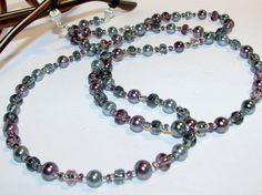 Shades of Gray and Purple Pearls Beaded Eyeglass Chain by nonie615, $18.00