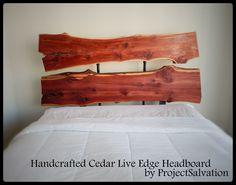 Custom Made Live Edge Headboard / Industrial Headboard / Reclaimed Wood Bedroom Design / Barnwood Headboard