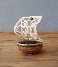 Thumbelina Walnut Sailboat - Vintage Doily, Walnut, Soldering, Tiny Fairy tale boat