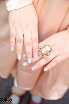 Bow embellished nails and Cameo ring & in Harajuku - Nail Art Manicure