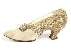 Cream Silk Shoes with Gold and Cream Brocade Trim, c.1920's.
