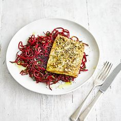 Tofu steak with beetroot noodles and dukkah