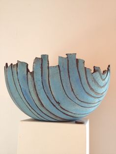 Blue bowl. I'm doing a series of plates, bowls and other pots made from slab strips. I love the look and the work is efficient enough for production. http://abnb.me/e/1Bw4yfnlSC