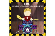 Drummer birthday card, personalised birthday, musical birthday, drumming card, musical instrument, card for son, music lover, rock star card by ShellsCCC on Etsy Birthday Greetings, Birthday Cards, Colors For Skin Tone, Unique Cards, Handmade Items, Handmade Gifts, Kids Cards, Music Lovers, I Am Happy