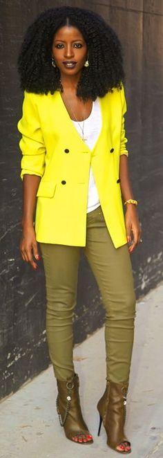 Neon Blazer + Tank + Coated Pants by Style Pantry I love this combination, the yellow with olive green!