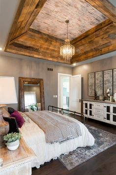Farmhouse Bedroom Decor Ideas - I make certain you are fueled with suggestions but we never run out checklists to feature for you. So today we have looked at farmhouse bedroom layouts that will certainly influence you. - April 21 2019 at Farmhouse Master Bedroom, Master Bedroom Design, Home Bedroom, Bedroom Furniture, Furniture Ideas, Master Bedrooms, Rustic Furniture, Bedroom Designs, Vaulted Ceiling Bedroom