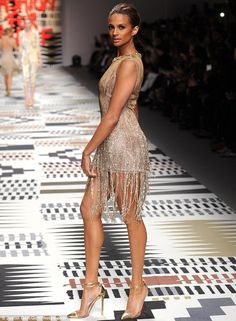 Flawless: Alesha Dixon, 36, bravely took to the catwalk at Naomi Campbell's Fashion For Re...