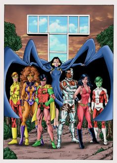The New Teen Titans by Alex Garcia Nightwing, Batwoman, Batgirl, Original Teen Titans, The New Teen Titans, Teen Titans Go, Dc Comics Superheroes, Dc Comics Art, Superhero Characters