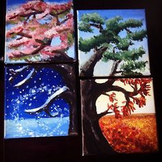 Four Seasons tree 4 piece acrylic canvas painting by KiwiArtLoft Kids Canvas Art, Tree Canvas, Canvas Ideas, Canvas Art Projects, Canvas Canvas, Autumn Painting, Diy Painting, Painting & Drawing, Four Seasons Painting