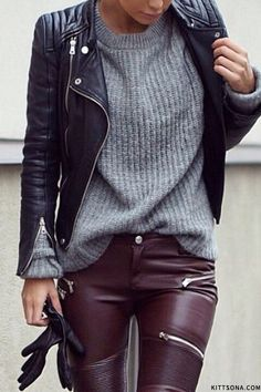 Caption 5Combined with even the fluffiest jumper or the most feminine blouse, this deep, rich colour can make anything look edgy and luxe.