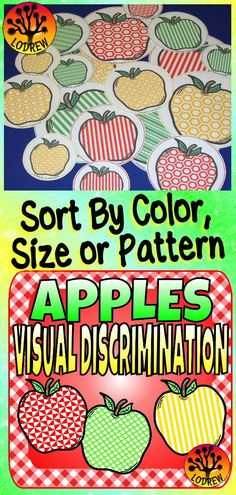 91 pages of apple centers focusing on visual discrimination. Activities include fine motor, same different, critical thinking, task cards, problem solving, size sorting, autumn activities, fall centers, back to school, visual discrimination, no prep, memory, art, sorting, literacy, math, and more. For kindergarten, preschool, SPED, child care, homeschool, or any early childhood setting. Fall Preschool, Kindergarten Centers, Kindergarten Activities, Preschool Math, Art Activities For Toddlers, Autumn Activities, Sight Words, Apple Center, Big Kids