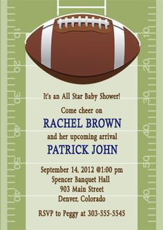 Superior Football Baby Shower Invite...and The Invite Has My Momu0027s Bday.