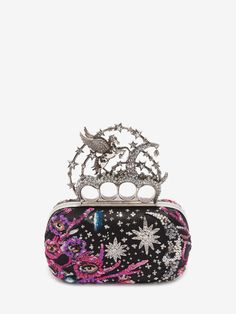 Alexander McQueen - A/W16 - Night dream embroidered black satin clutch with Flying Unicorn. Crystal Swarovski adornments. Nappa leather lining. Brass hardware with silver finish.