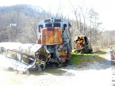 Abandoned Train Wreck Scene