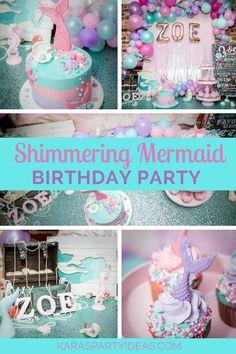 Birthday party girl toddler little mermaids ideas Mermaid Theme Birthday, Little Mermaid Birthday, Girl Birthday Themes, 10th Birthday Parties, 5th Birthday, 7th Birthday Party Ideas, Birthday Banners, 1st Birthdays, Ideas Party