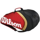 New for Wilson introduces the BLX Team Collection in a sharp red and black cosmetic. PVC free, lighter than traditional tennis bags. Expandable size offers a bit more room than standard six pack style racquet bags. Wilson Tennis Bags, Six Packs, Sport, Lighter, Red, Traditional, Collection, Black, Deporte