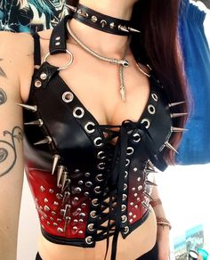 Red & Black Spiked Bustier - My Little Halo http://mylittlehalo.com/metal-clothing-collection
