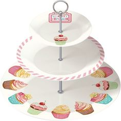 RETRO TREATS 50s Vintage Style FINE CHINA 3 TIER CAKE STAND Cupcakes Plate