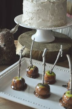 whimsical woodland party: adorable mini caramel + chocolate apples on real sticks