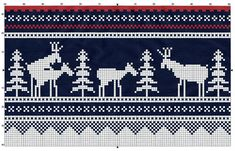 Norwegian Marius pattern with a twist: Moose in forest (syl. Knitting Charts, Knitting Stitches, Knitting Patterns, Crochet Quilt, Crochet Chart, Crochet Pattern, Free Pattern, Cross Stitch Charts, Cross Stitch Patterns