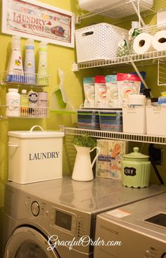 laundry room organization, like the shelves