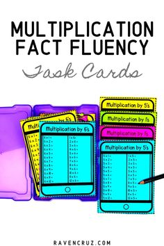These fact fluency task cards cover facts and and provide students with a new way to practice multiplication fluency and the commutative property of multiplication. The task cards are perfect for math centers, small groups, math rotations, etc. Math Games, Math Activities, Math Math, Math Resources, Maths, 2nd Grade Math Worksheets, 3rd Grade Math, Third Grade, Math Rotations