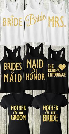 Gold Glitter #Wedding tank tops! Perfect for the #Bachelorette Party, and all Bridal events. Mix and match, buy more and save at www.MrsBridalShop.com