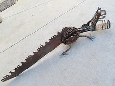 Crocodile alligator welded salvage steel garden art.