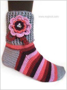 Háčkované Ponožky+Návod Crochet Clothes, Crochet Baby, Knitwear, Socks, Knitting, Women, Crocheting, Clothing, Fashion