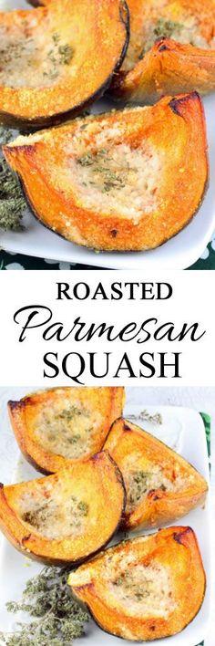 Roasted Parmesan Squash #squashrecipes #roastedsquash #christmassides #christmasrecipes