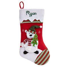"White Polar Bear Fur Trim Christmas Stocking 18.5/"""