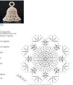Campana Christmas Tree Pattern, Crochet Christmas Ornaments, Christmas Crochet Patterns, Crochet Snowflakes, Angel Ornaments, Christmas Bells, Christmas Crafts, Christmas Decorations, Crochet Angels
