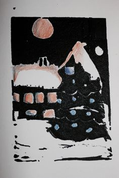 A Winter scene in printmaking