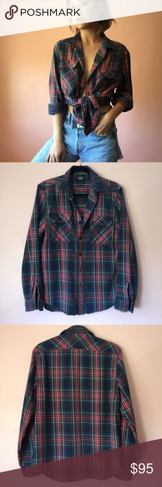 Ralph Lauren Tartan Plaid Button Shirt Live in this cozy, plaid tartan cotton button up shirt by Ralph Lauren. Features a collar, two buttoned breast pockets, long cuffed and buttoned sleeves in the perfect color combination. Wear with sleeves rolled and tied at waist or tie the sleeves around the waist for that grunge look. MSRP $175. Fits a bit oversize. Marked size medium. No returns allowed. Please ask all questions before buying. IG: [at] jacqueline.pak #ralphlauren Ralph Lauren Tops…
