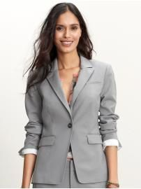 Suit-spiration options: the gray menswear (Rolled sleeves are perfection on a suit.) (Banana republic Women's Gray Suit) #Suits #WomensSuits #Gray #Suitspiration #BananaRepublic