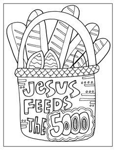 Jesus feeds the 5000 - Religious Doodles Preschool Bible Activities, Preschool Coloring Pages, Bible Coloring Pages, Family Bible Study, Bible Study For Kids, Bible Lessons For Kids, Sunday School Crafts For Kids, Sunday School Activities, Sunday School Lessons