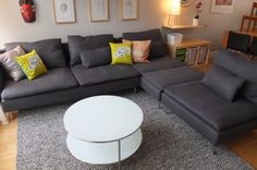 The small wheels on the IKEA STRIND coffee table make it easy to move in for entertaining, or out for play time! Small Space Interior Design, Home Interior Design, Basement Living Rooms, Living Room Decor, Ikea 2014, Ikea House, Ikea Home Tour, Ikea Design, Ikea Sofa
