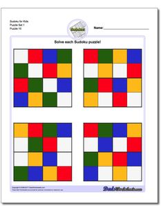 Sudoku for Kids Puzzle Set 1 Fun Worksheets For Kids, Free Printable Math Worksheets, Puzzles For Kids, Sudoku Puzzles, Logic Puzzles, Critical Thinking Skills, Puzzle Books, Basic Math, Math Facts