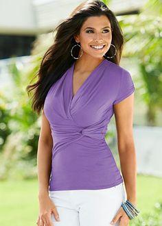 Light Violet (AFVI) Twist Detail Top $22