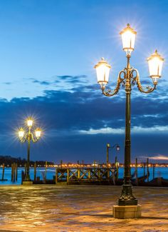 At night, Yard of Saint Mark's Basilica, Venice Italy
