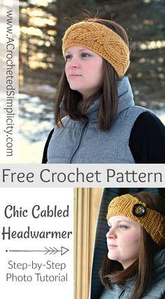 Free Crochet Pattern - Chic Cabled Headwarmer : Free Crochet Pattern – Chic Cabled Headwarmer by A Crocheted Simplicity Crochet Ear Warmer Pattern, Crochet Headband Pattern, Knitted Headband, Crochet Beanie, Crochet Headbands, Baby Headbands, Crochet Cable, Crochet Diy, Crochet Hooks