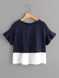 Shop Bell Sleeve Overlap Back Mixed Media T-shirt online. SheIn offers Bell Sleeve Overlap Back Mixed Media T-shirt & more to fit your fashionable needs. Girl Outfits, Casual Outfits, Fashion Outfits, Mode Top, Girl Fashion, Womens Fashion, Diy Clothes, Blouse Designs, Blouses For Women